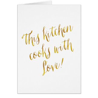 Kitchen Love Quote Faux Gold Foil Pattern Cooking Card
