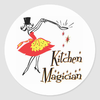 Kitchen Magician Retro Cooking Saying Classic Round Sticker