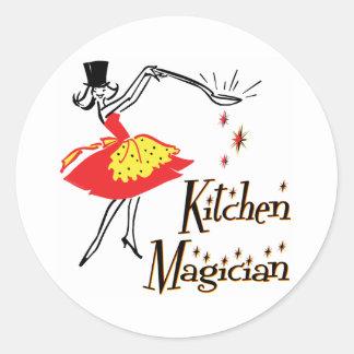 Kitchen Magician Retro Cooking Saying Round Sticker