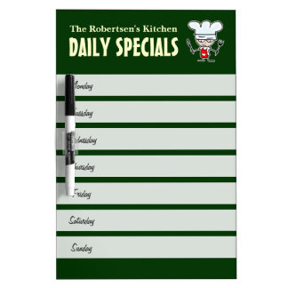 Kitchen meal planning calendar dry erase board