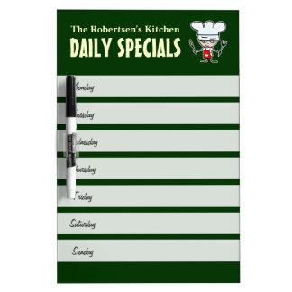Kitchen meal planning calendar dry erase board