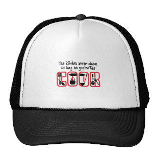 KITCHEN NEVER CLOSES TRUCKER HAT