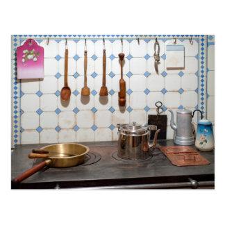 Kitchen of art nouveau postcard