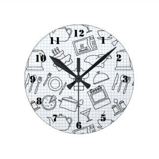 Kitchen Pattern 4 Round Clock