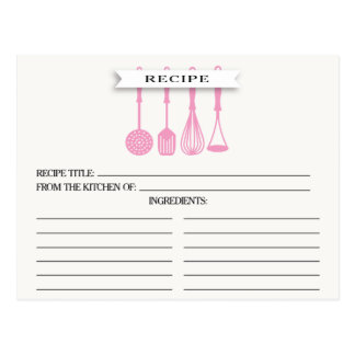 Kitchen Pink Utensils Bridal Shower Recipe Cards Postcard