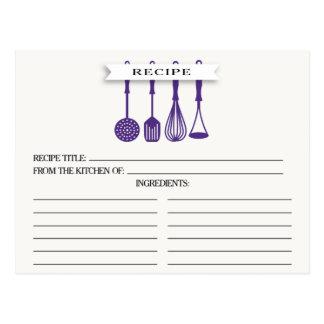 Kitchen Purple Utensils Bridal Shower Recipe Cards Postcard