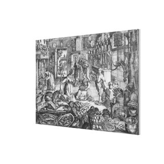 Kitchen scene in the early seventeenth century canvas print