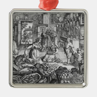 Kitchen scene in the early seventeenth century christmas ornament