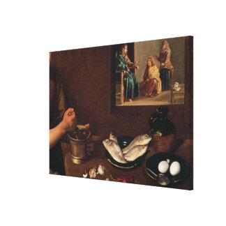 Kitchen Scene with Christ Canvas Print