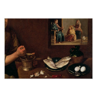 Kitchen Scene with Christ Poster