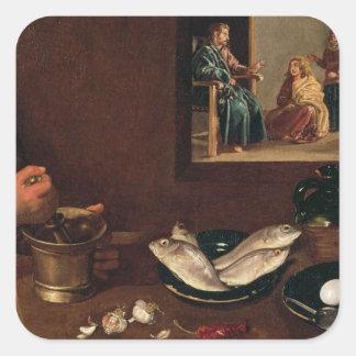 Kitchen Scene with Christ Square Sticker