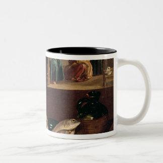 Kitchen Scene with Christ Two-Tone Coffee Mug