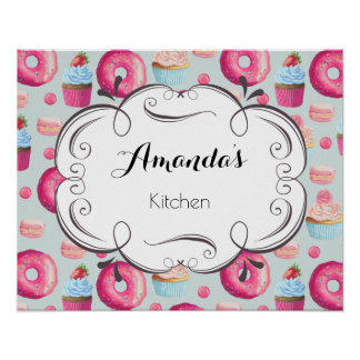 Kitchen Sign With Donuts Macarons And Cupcakes Poster