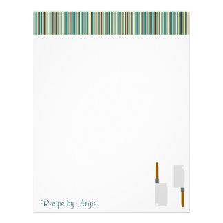 Kitchen Stripes Aqua Recipe Paper Custom Flyer