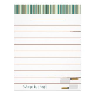 Kitchen Stripes Aqua Recipe Paper - With Lines Full Color Flyer