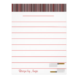 Kitchen Stripes Red Recipe Paper - WIth Lines 21.5 Cm X 28 Cm Flyer