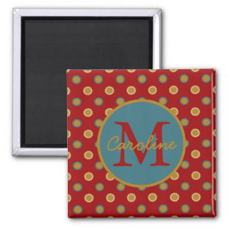 Kitchen Sunshine on Red Monogram Magnet