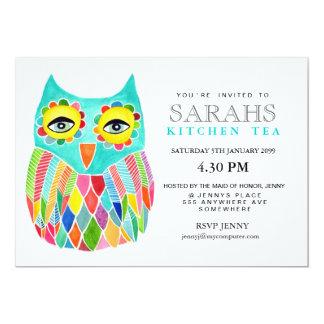 "Kitchen Tea Bridal Shower Rainbow Owl Invite 5"" X 7"" Invitation Card"