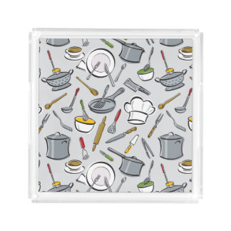 Kitchen Tools Pattern Acrylic Tray
