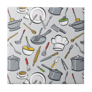 Kitchen Tools Pattern Small Square Tile