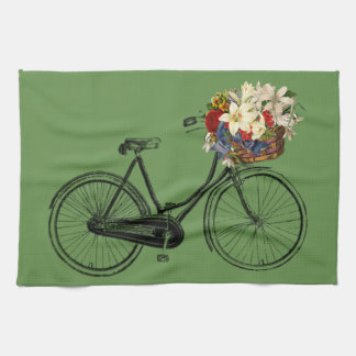 Kitchen towel bicycle flower bike green