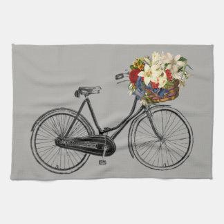 Kitchen towel bicycle flower bike grey
