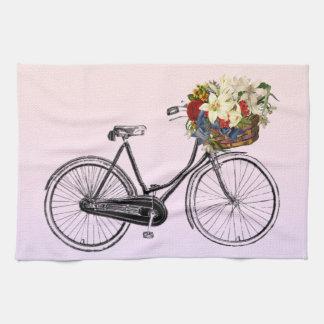 Kitchen towel bicycle flower bike pastel pink