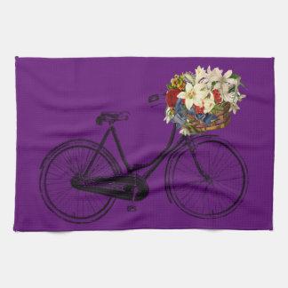 Kitchen towel bicycle flower bike purple