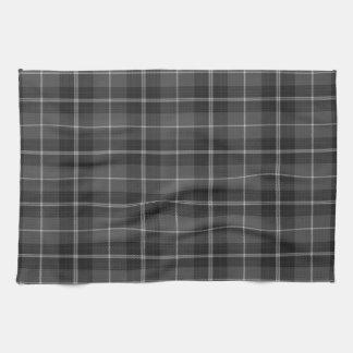 Kitchen towel  Black silver grey plaid