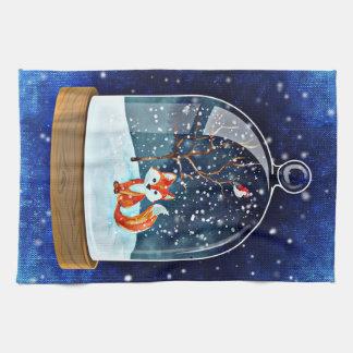 Kitchen towel  Christmas fox blue