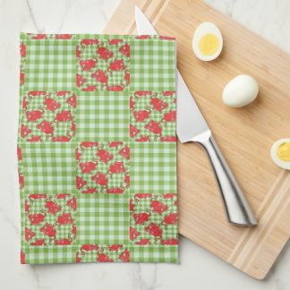 Kitchen Towel: Cute Red Dragons on Green Gingham Tea Towel