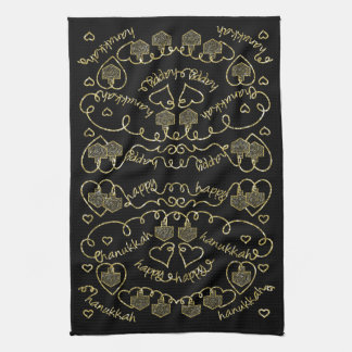 "Kitchen Towel ""Hanukkah Gold Hearts/Dreidels"""