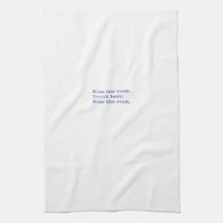 Kitchen Towel, Kiss the cook. Drink beer. Blue Tea Towel