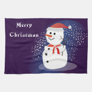 kitchen towel Merry Christmas rustic cute snowman