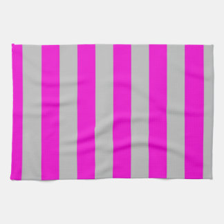 Kitchen Towel - Purple and Silver - Broad Stripes