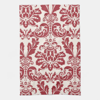 Kitchen Towel...red and white damask Tea Towel