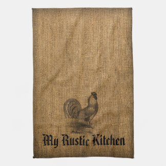 Kitchen Towel Rustic Rooster Burlap