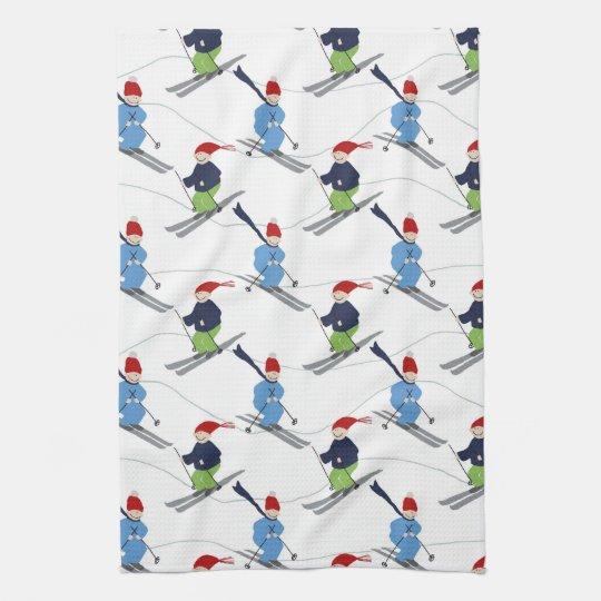 Kitchen Towel- Skiers! Tea Towel