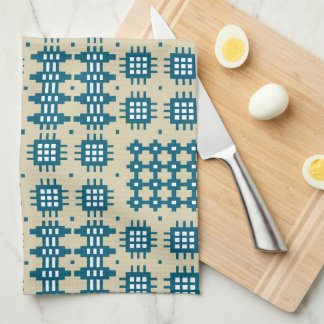 Kitchen Towel Welsh Tapestry Design, Navy on Taupe