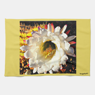 Kitchen Towel - White Cactus Flower in Yellow
