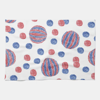 Kitchen towel with red-blue balls