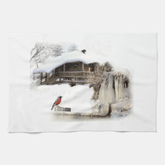 Kitchen towel with winter robin