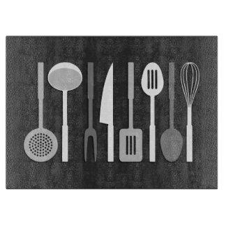 Kitchen Utensil Silhouettes Monochrome Cutting Board