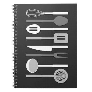 Kitchen Utensil Silhouettes Monochrome II Spiral Notebook