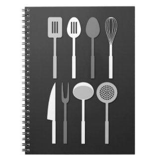 Kitchen Utensil Silhouettes Monochrome Spiral Notebook