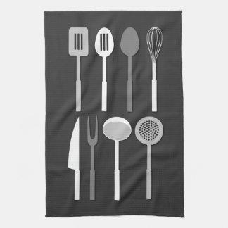 Kitchen Utensil Silhouettes Monochrome Tea Towel