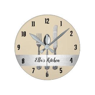 Kitchen Utensil Silver Belt Round Clock