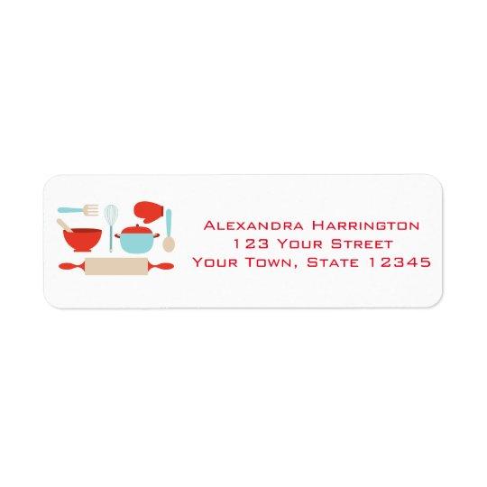 Kitchen Utensils, Blue, Red Return Address Label