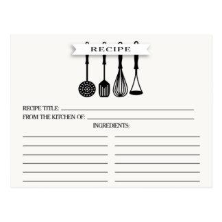 Kitchen Utensils Bridal Shower Recipe Cards Postcard