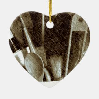 Kitchen Utensils Ceramic Heart Decoration